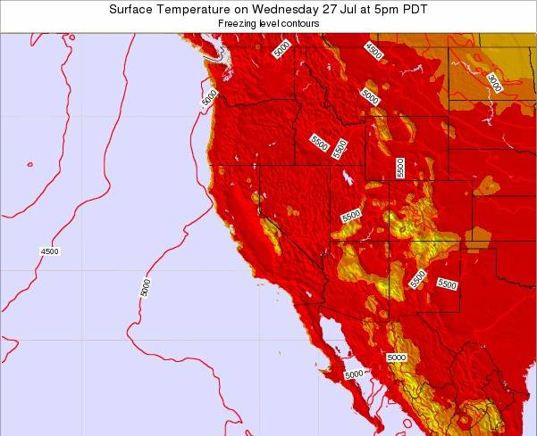 California Surface Temperature on Friday 13 Dec at 4pm PST