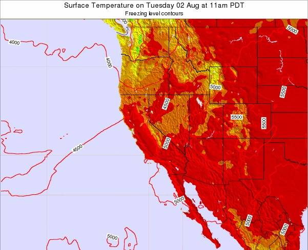 California Surface Temperature on Sunday 27 Apr at 11pm PDT