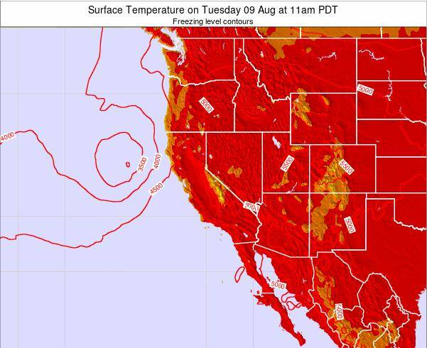 California Surface Temperature on Sunday 24 Aug at 5am PDT