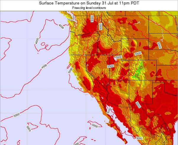 California Surface Temperature on Thursday 23 Feb at 10pm PST