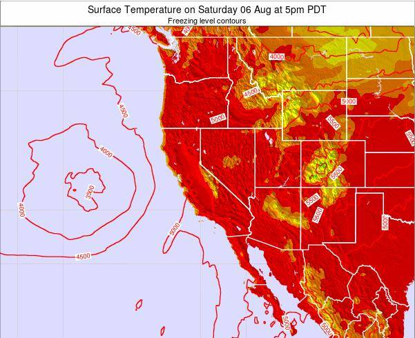 California Surface Temperature on Friday 01 Aug at 11pm PDT
