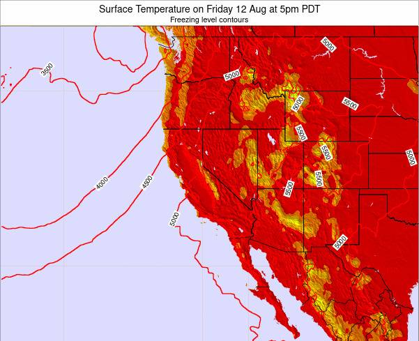 California Surface Temperature on Sunday 29 Apr at 11am PDT map