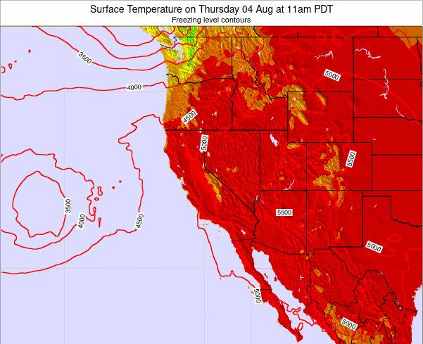 California Surface Temperature on Tuesday 21 May at 11pm PDT