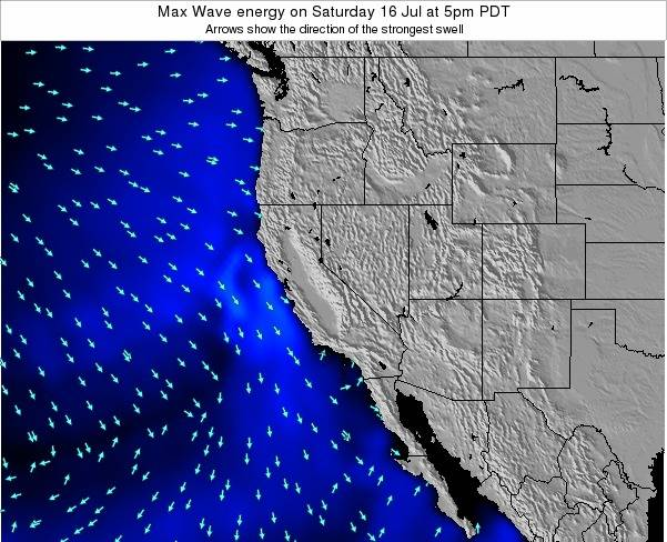 California Max Wave energy on Tuesday 11 Dec at 10am PST map
