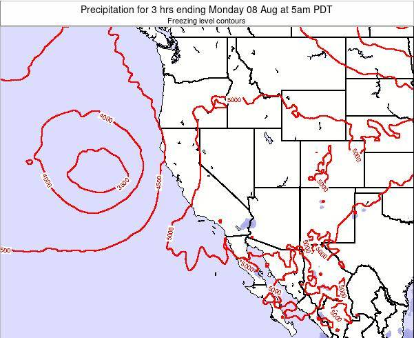 California Precipitation for 3 hrs ending Saturday 25 May at 11am PDT