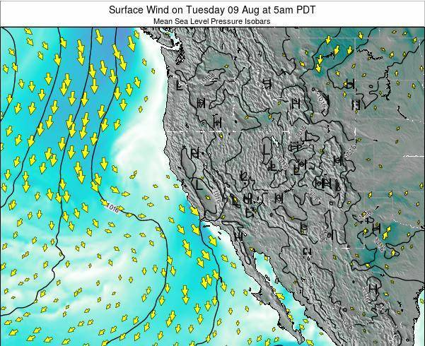 California Surface Wind on Wednesday 22 May at 5pm PDT