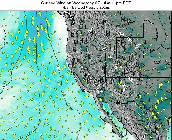 Utah Surface Wind on Saturday 25 May at 5am PDT map