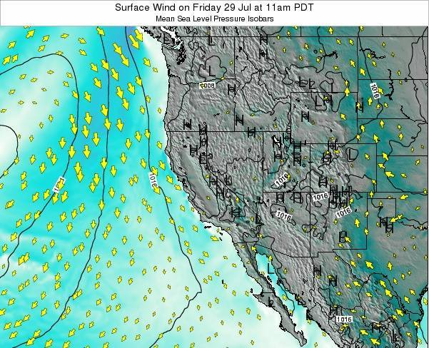 California Surface Wind on Monday 27 May at 5am PDT map