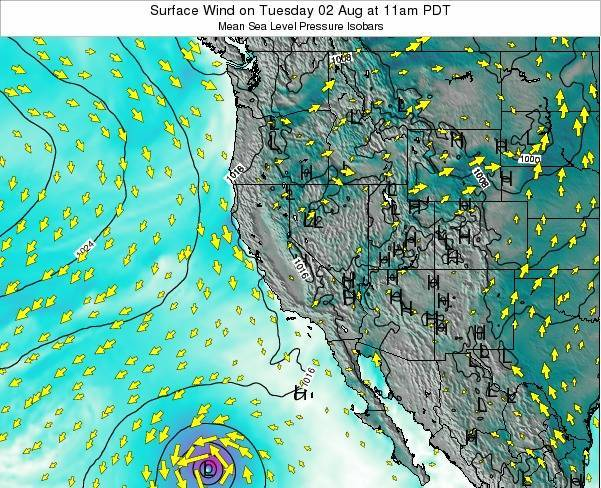 California Surface Wind on Wednesday 29 May at 11am PDT
