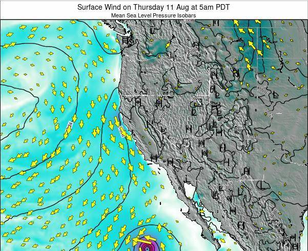 California Surface Wind on Monday 04 Aug at 11am PDT