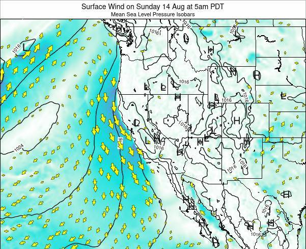 California Surface Wind on Thursday 30 May at 5am PDT map