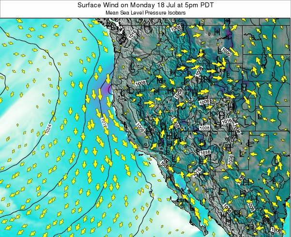 California Surface Wind on Friday 26 Jan at 4am PST map