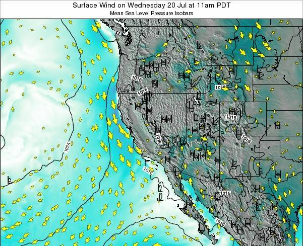 California Surface Wind on Thursday 24 Apr at 5am PDT