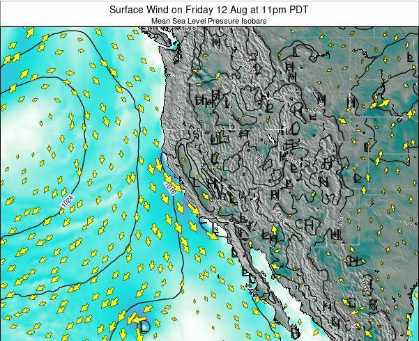 Utah Surface Wind on Wednesday 29 May at 11pm PDT map