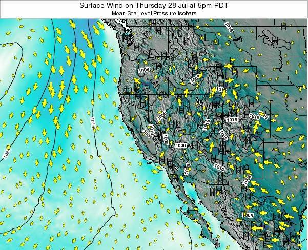 California Surface Wind on Wednesday 12 Mar at 10am PST