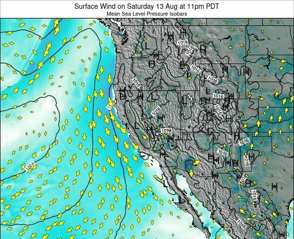 California Surface Wind on Monday 24 Jun at 11am PDT