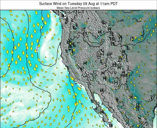 Utah Surface Wind on Sunday 26 May at 5pm PDT map