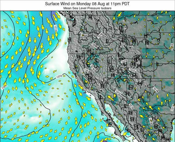 Utah Surface Wind on Wednesday 22 May at 11pm PDT map