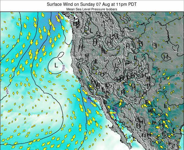 California Surface Wind on Friday 21 Jun at 5pm PDT map