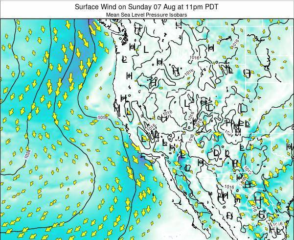 Utah Surface Wind on Saturday 22 Jun at 11pm PDT map