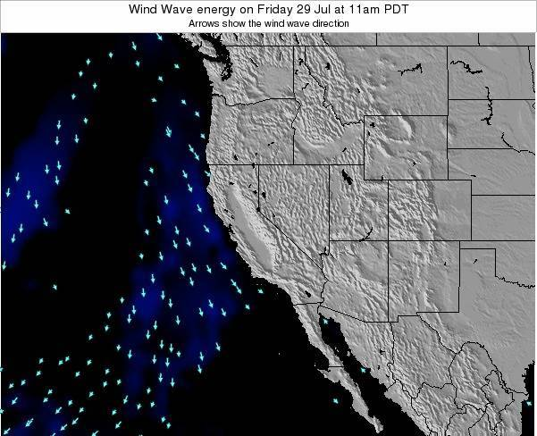 California Wind Wave energy on Thursday 13 Dec at 4pm PST map