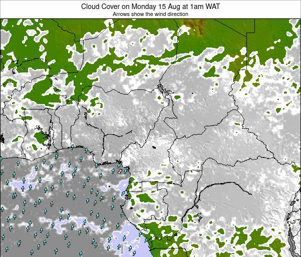 Equatorial Guinea Cloud Cover on Monday 27 May at 7pm WAT map