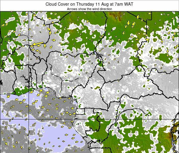 Equatorial Guinea Cloud Cover on Tuesday 05 Aug at 1pm WAT map