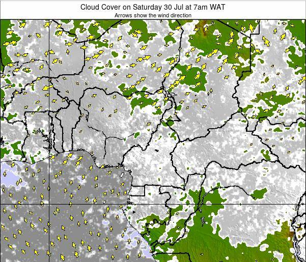 Equatorial Guinea Cloud Cover on Saturday 26 Apr at 1am WAT map
