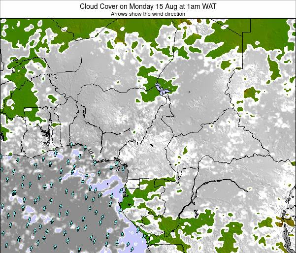 Equatorial Guinea Cloud Cover on Thursday 19 Dec at 1pm WAT map