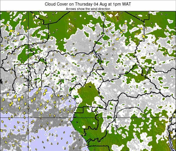 Equatorial Guinea Cloud Cover on Wednesday 29 May at 1pm WAT map