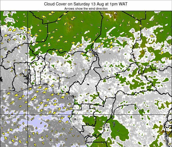 Equatorial Guinea Cloud Cover on Thursday 31 Jul at 7am WAT map