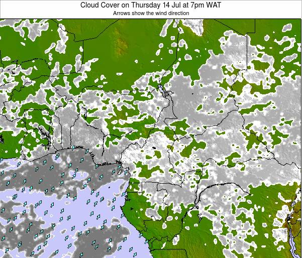 Equatorial Guinea Cloud Cover on Saturday 26 Jul at 7pm WAT map