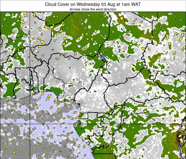 Equatorial Guinea Cloud Cover on Sunday 08 Dec at 7am WAT map