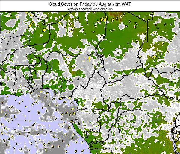 Equatorial Guinea Cloud Cover on Friday 01 Aug at 7am WAT map