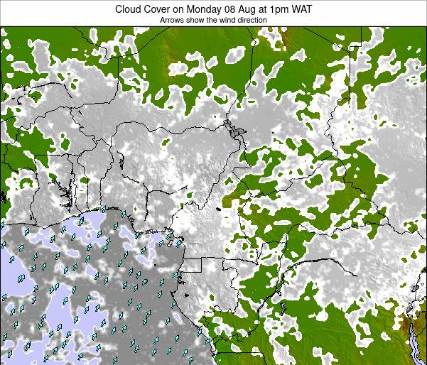Gabon Cloud Cover on Monday 16 Jul at 1pm WAT map