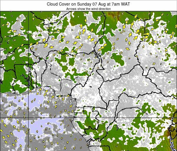 Equatorial Guinea Cloud Cover on Tuesday 11 Mar at 1pm WAT map