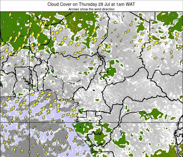 Equatorial Guinea Cloud Cover on Sunday 15 Dec at 7pm WAT map