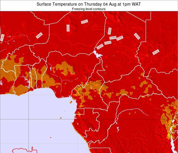 Cameroon Surface Temperature on Thursday 23 May at 1pm WAT