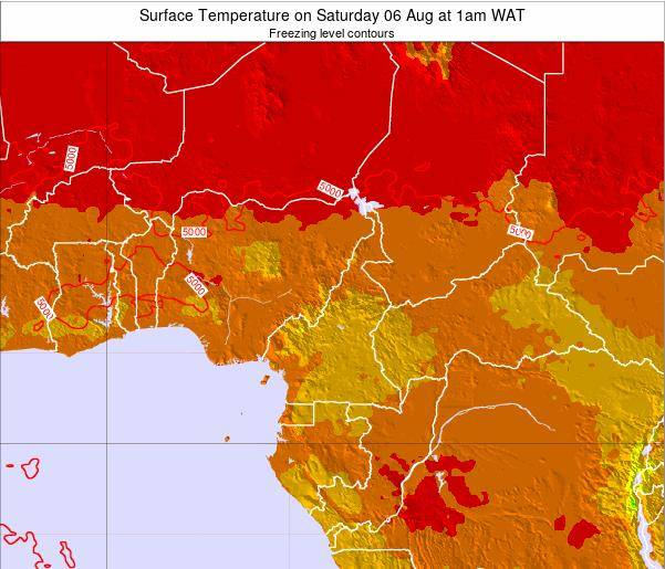 Central African Republic Surface Temperature on Saturday 25 May at 1am WAT map