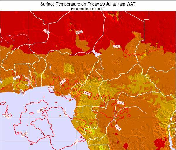 Gabon Surface Temperature on Sunday 02 Aug at 1pm WAT