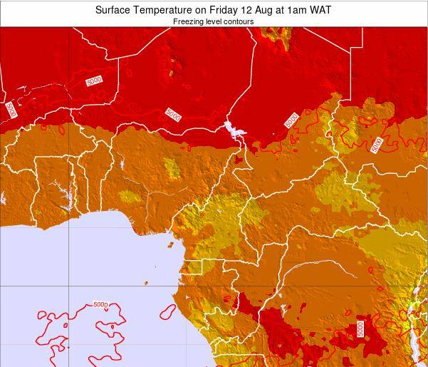 Central African Republic Surface Temperature on Sunday 26 May at 7am WAT map