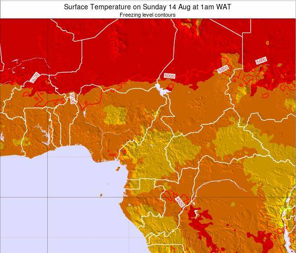Equatorial Guinea Surface Temperature on Sunday 26 May at 7pm WAT map