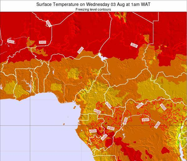 Gabon Surface Temperature on Sunday 22 Apr at 7am WAT map