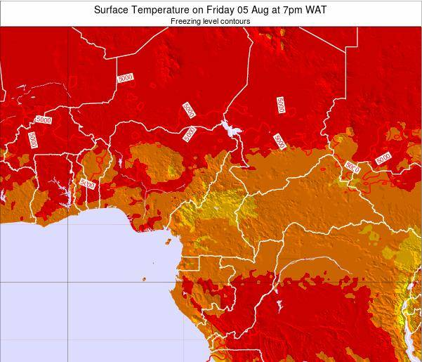 Gabon Surface Temperature on Saturday 13 Feb at 1pm WAT