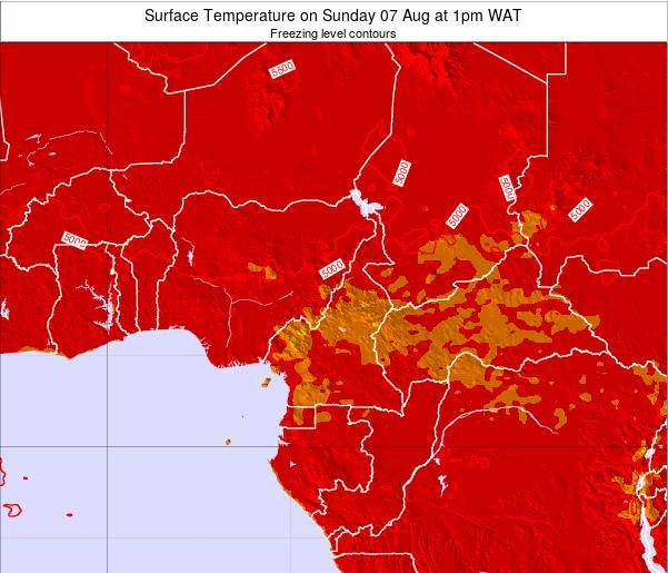 Gabon Surface Temperature on Sunday 09 Mar at 1pm WAT