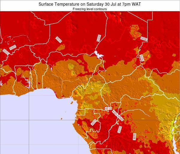 Gabon Surface Temperature on Saturday 14 Dec at 7am WAT