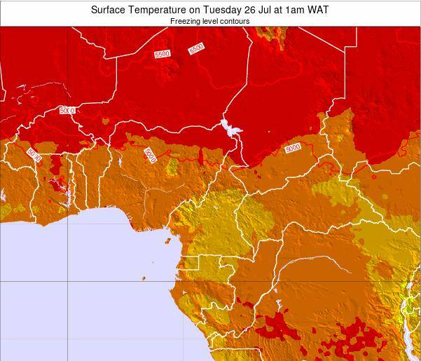 Gabon Surface Temperature on Saturday 16 Dec at 1pm WAT map