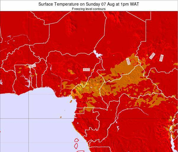 Central African Republic Surface Temperature on Friday 21 Jun at 7pm WAT map