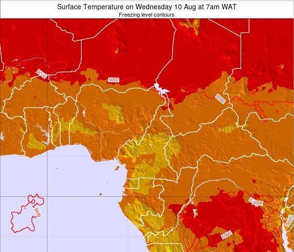 Cameroon Surface Temperature on Sunday 26 May at 1pm WAT