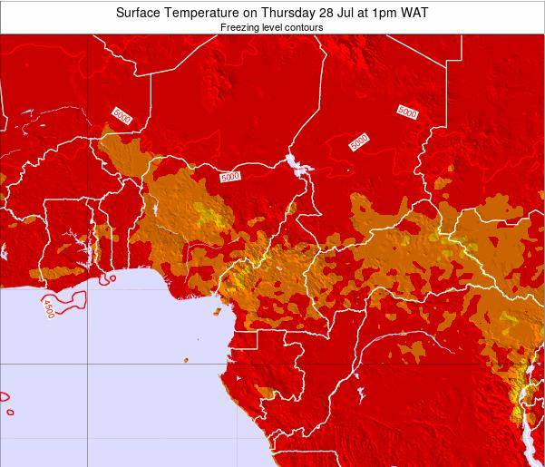 Equatorial Guinea Surface Temperature on Wednesday 22 May at 7pm WAT map